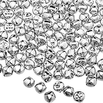 Pack of 200 1/2  inch Christmas Jingle Bells Craft Bells for Wreath Holiday Home Decor Jewelry Making and Christmas Decoration  Silver