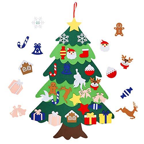 Herefun Filz Weihnachtsbaum, 100cm Kinder Weihnachtsbaum, DIY Fühlte Weihnachtsbaum Aufhängen, Grün Filzkinder Weihnachtsbaum, Wandbehang Weihnachtsschmuck Dekoration Ornamente Wand Dekor Geschenk