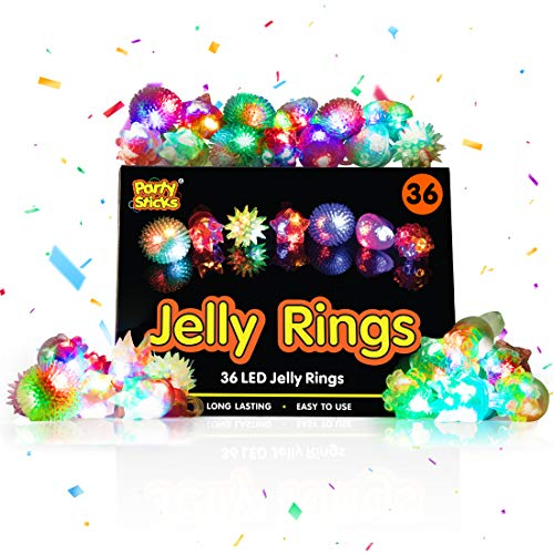 PartySticks Light Up Jelly Rings - 36pk Bulk Glow Party Favors for Kids, Flashing Glow Rings, Wearable Glow Jewelry and Glow in the Dark Party Supplies for Boys and Girls in Assorted Colors