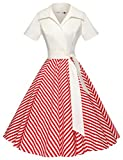 GownTown Women Splicing Swing Dress Party Picnic Cocktail Dress,Ivory&red,Large