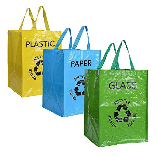 Aaoory 53L x 3 Reusable Recycled Bags with Handles Dividers for Selection of Paper Plastic Glass