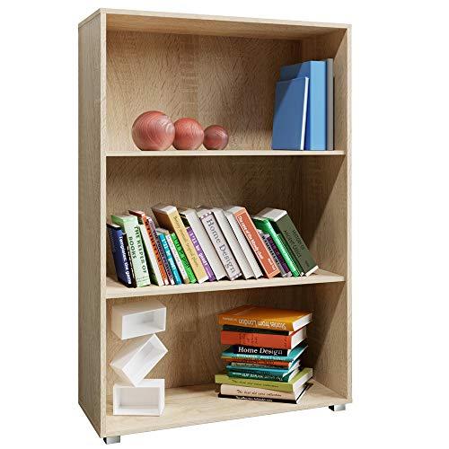 Deuba Standregal Bücherregal Wandregal Regal Holz Vela 3 Fächer Eiche - weitere Modell- & Farbauswahl