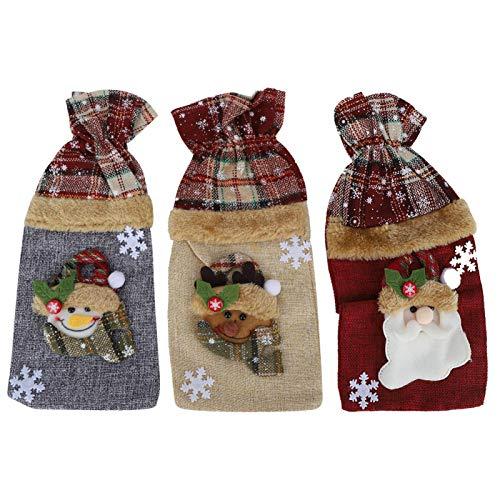 KAKAKE Decoración navideña Bolsa de Botella de champán Decoraciones de Botella de Vino Bolsa de Botella de Vino de Navidad Decoraciones de Botella de Vino de Vacaciones para Las Vacaciones de