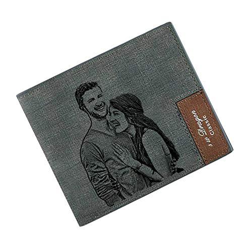 Billetera Personalizada para Los Hombres, Carteras de Fotos Personalizadas, Cartera de Tarjetas de Bloqueo RFID para el Regalo del día del Padre (Gris)