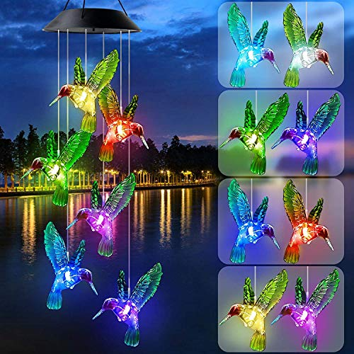 KUAHAIHINTERAL Solar Wind Chime Outdoor Mobiles Led Solar Powered Wind Chimes for Home/Party/Yard/Mother Day Yard Decoration Gifts (Style A)