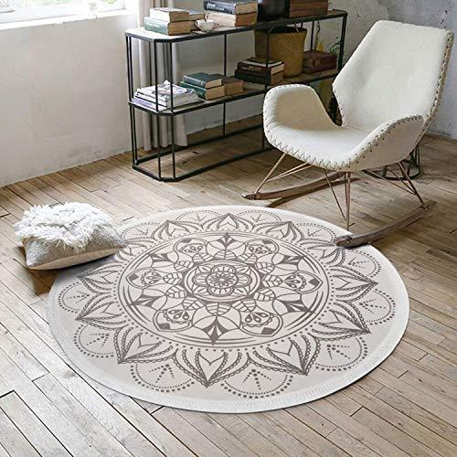 Pauwer Mandala Indien Tapis Rond en Coton avec des Gland,Tapis de Sol en Coton Plat Tissé Main,Classique Rond Traditionnel Moderne de Tapis pour la Chambre,Le Salon