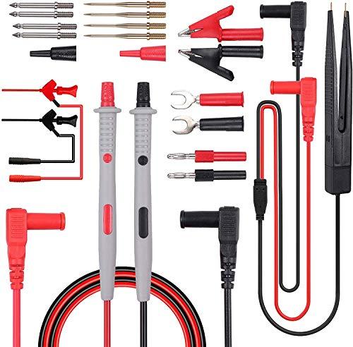 DollaTek Kit de Cables de Prueba Multímetro eléctrico 21 en 1 Cable de Prueba con Pinzas de cocodrilo Sonda de Prueba Cable multímetro de Enchufe Tipo Banana para probadores de Voltaje