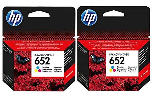 2 cartuchos de tinta originales HP F6V24AE HP 652 HP652 para HP Deskjet Ink Advantage 1115-2 de color – Potencia: Color aprox. 2 x 200