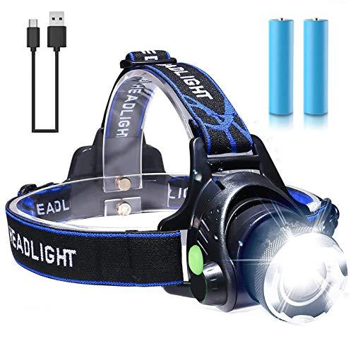 Linterna Frontal, FVSA Linterna Cabeza LED - USB Recargable, Zoomable Luz Frontal - Impermeable, Lámpara de Cabeza para Camping, Excursión,Pesca,Carrera,Ciclismo, con 3 Modos de Iluminación