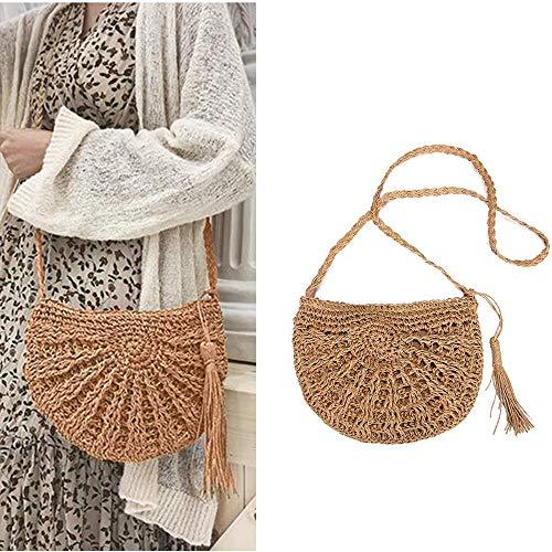 zainetto di paglia con,Crossbody Bag, Borsa a spalla donna,tracolla in pelle per le donne,Shopping,campeggio,escursionismo,appuntamenti