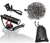 Movo vxr10スマートフォンビデオマイクショックマウント、Deadcatウインドスクリーン、ケース付きIphone/Andoid Canon、EOS/Nikon DSLRカメラとビデオカメラ VXR10