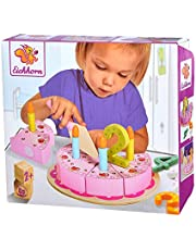 Eichhorn 100003729 - verjaardagstaart met stekertjes, set bevat 1 x taartschep, 4 x getallen, 8 x taartstukken, 4 x kaarsen, 18-delig, grenenhout, Meerkleurig