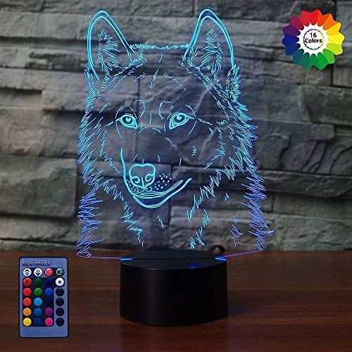 Preisvergleich Produktbild Kreative 3D Wolf Nacht Licht Lampe USB Power Fernbedienung 7 / 16 Farben Amazing Optical Illusion 3D LED Lampe Formen Kinder Schlafzimmer Geburtstag Weihnachten Geschenke