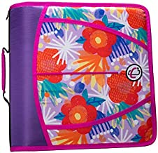 Case-It D-386-P Zipper Binder 3 inch capacity, Pop Floral Purple