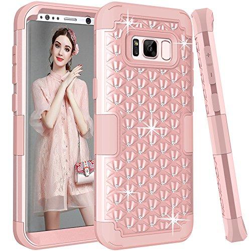 Funda para Samsung Galaxy S8 Plus, TOPBIN [brillo brillante] y [diamante] 3 en 1 Premium Slim Slim Fit Cover con Rhinestone Hard PC + Funda protectora de silicona suave para Galaxy S8 Plus (oro rosa)