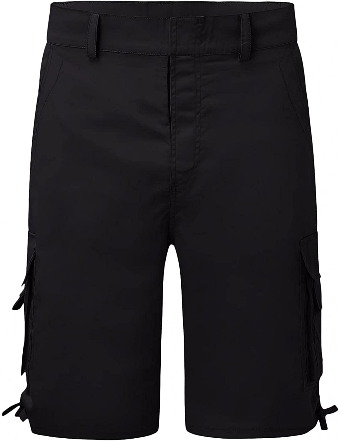 FUNEY Men's Twill Cargo Shorts Classic Fit Flat Front Stretch Solid Pleated Chino Tactical Shorts Big and Tall Bermuda Shorts