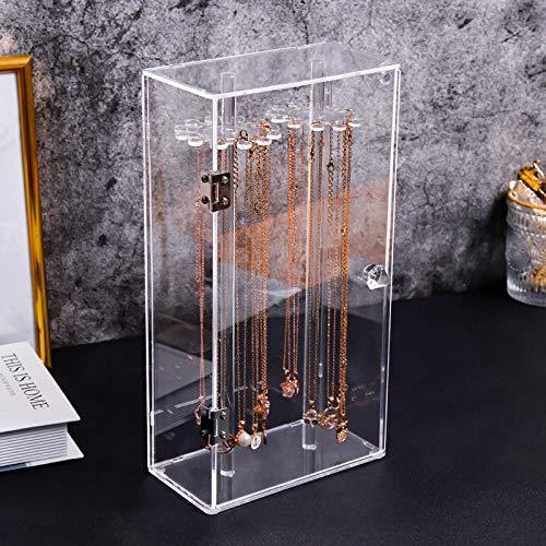 Caja De Joyas Mujer Caja De Almacenamiento De Collar De Acrílico Transparente A Prueba De Polvo, Pulsera De Cadena De Clavícula, Tobillera, Joyero, Soporte De Exhibición Giratorio Elevado