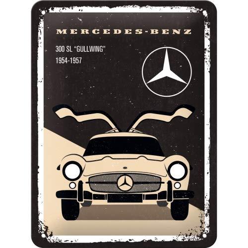 Nostalgic-Art Mercedes-Benz – 300 SL Beige – Geschenk-Idee für Auto Accessoires Fans Retro Blechschild, aus Metall, Vintage-Dekoration, 15 x 20 cm