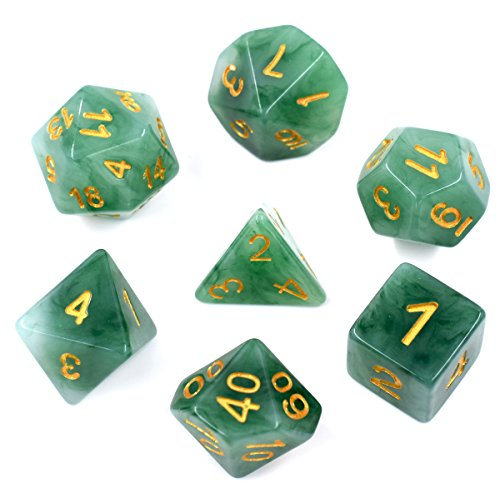 HDdais Polyhedral DND Dice Sets Green Jade Dice for Dungeons and Dragons Pathfinder DND RPG MTG Table Gaming Dice