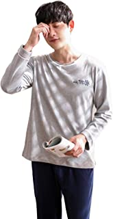 メンズパジャマロングスリーブコットンパジャマ秋カジュアルスポーツラージサイズホームアパレル パジャマ (Color : Gray, Size : 170cm/l)