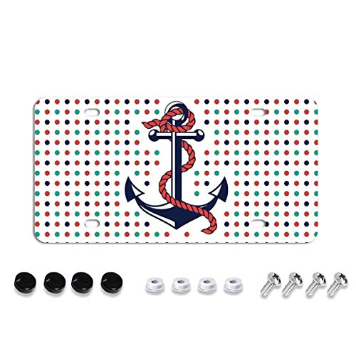 Anchor License Plate,Decorative Car Front License Plate,Vanity Tag,Metal Car Plate,Aluminum Novelty License Plate for Men/Women/Boy/Girls Car,6 X 12 Inch