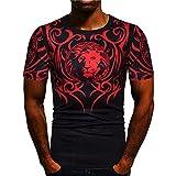 Deportiva Camisa Hombre Verano Moda Cuello Redondo Hombre Muscular Shirt Básica Elástica Manga Corta Personalidad Estampado Cómodo Wicking Jogging Hombre Correr Shirt C-Black1 XL