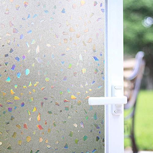 Zindoo Fensterfolie Selbsthaftend Blickdicht Sichtschutzfolie Ohne Kleber Dekorfolie Farbeffekt unter Licht, 3D Fensterfolie Anti-UV 44.5X200CM