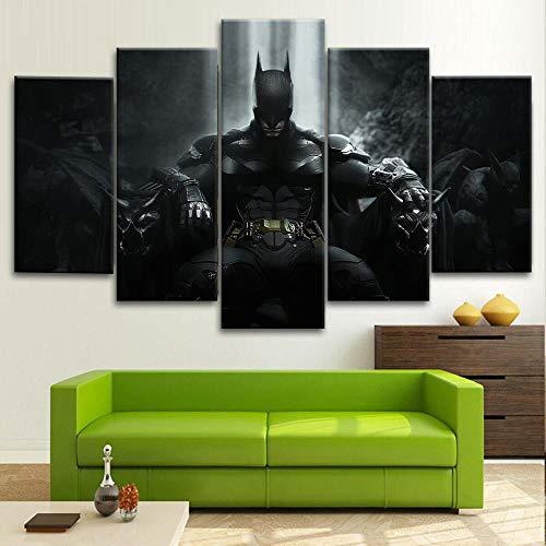 VYQDTNR Tableau Graffiti 150x 80cm 5 Parties Batman trône Le Chevalier Noir Art Déco Murale Salle de Bain Cadeau Anniversaire (sans Cadre)