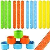 Oruuum 12Pcs Silicone Slap Bracelets Ruler Soft and Safe for Boys Girls Party Favors(4 Color)
