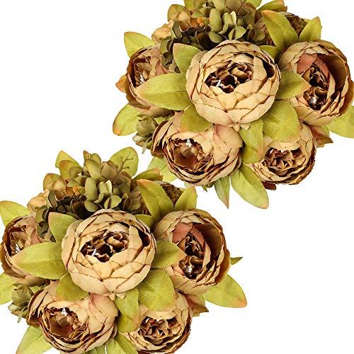 Nubry 2 Piezas Artificial Peonía Seda Flores Bouquet para Boda Inicio Jardín Fiesta Decoración (Café)