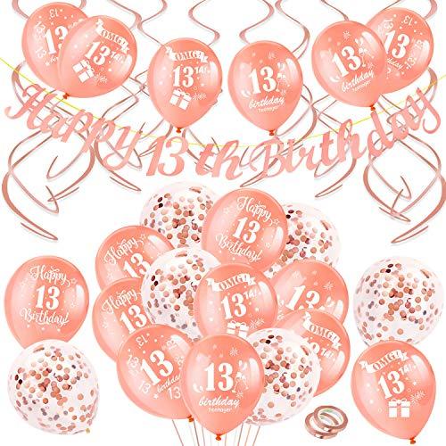 HOWAF Decorazioni per Feste di Compleanno in Oro Rosa, Banner di Buon Compleanno, 13 Anni Compleanno Palloncini con Coriandoli, Pendenti a Spirale Decorazioni per Ragazza 13 Compleanno