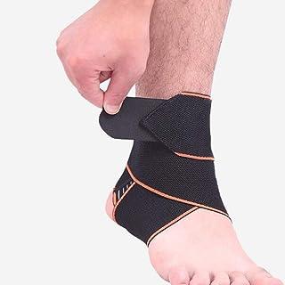 アンクルブレース、* 2バスケットボール足首の包帯、捻挫足首、男性の健康管理、手首、包まれた弾性足、固定スポーツ防具 (Color : Black, Size : One size)