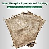 AUTOECHO 4pcs Das Instant-Sandbag für Hochwasserschutz, sehr saugfähig Kern 80-100 mal Expansion nach Absorbieren von Wasser, hessische Sandsäcke mit Ring Krawatten Hochwasserschutz Sack