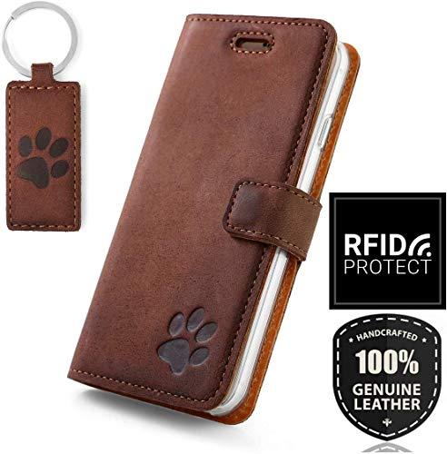 SURAZO Note 20 Ultra Premium RFID Echt Lederhülle Schutzhülle mit Standfunktion und Pfote Motiv - Klapphülle Handmade in Europa für Samsung Galaxy Note 20 Ultra