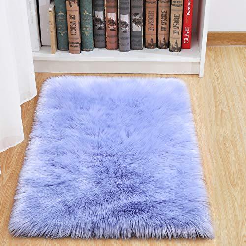 junovo Luxury Fluffy Area Rugs Furry Rug for Bedroom Faux Fur Sheepskin Nursery Rugs Fur Carpet for Kids Room Living Room Home Decor Floor Mat, 2ft x 3ft Light Purple