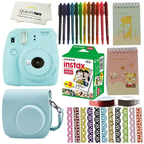 Fujifilm Instax Mini 9 Camera Bundle. Mini 9 Instant Camera + Case + Fujifilm Instax Mini 9 Films (20)+ 10 Colored Pens +2 Mini Photo Albums +13 Rolls Decorative Ribbons (Ice Blue)