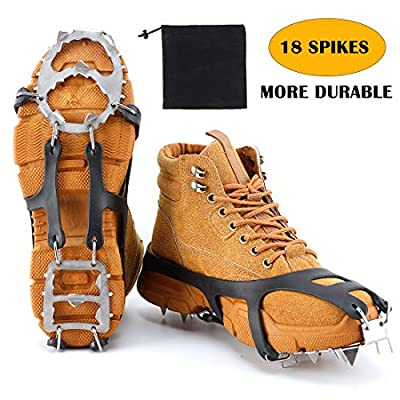 LYTOPTOP Crampons Traction Cleats for Ice Snow Grips with 18 Stainless Steel Spikes, Boots Shoes Safe Protect for Hiking Walking Climbing Fishing Mountaineering Jogging
