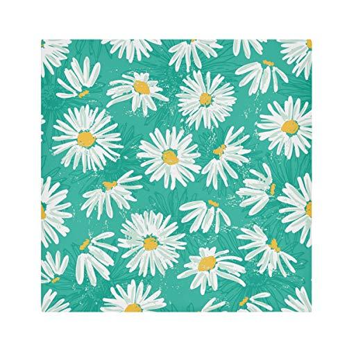 TropicalLife HaJie Servilletas de papel de poliéster satinado con estampado de margaritas florales para mesa, servilletas reutilizables de 50,8 x 50,8 cm, 4 unidades