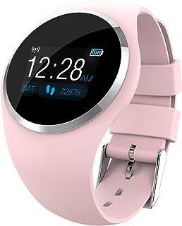 Reloj Inteligentenew, Smart Watch Women Mujer, Actividad Inteligente para Deporte Podómetro con Pulsómetro Monitor de Sueño, Periodo Fisiologicodetección for Android iOS Couple Watch,Rosado