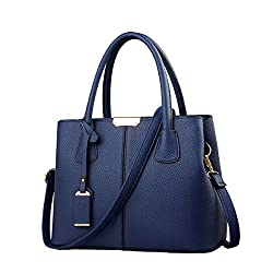 A dark blue top handle tote with strap and decoration stuff, seriously good office purse under 20 dollars