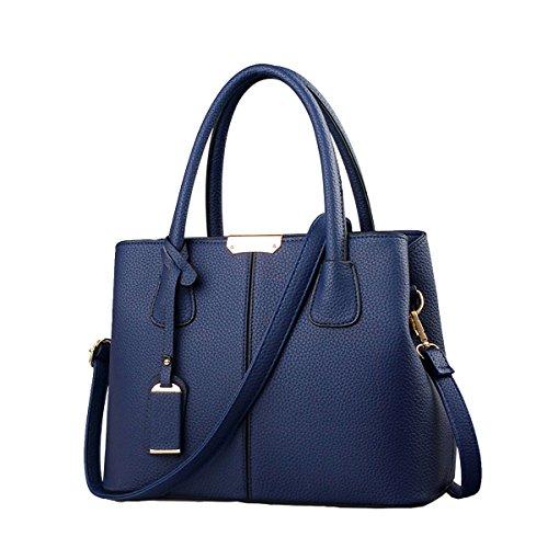 B&E LIFE Stylish Women Pu Leather Vertical Utility Top Handle Handbag Satchel Tote Purse Bag (Blue)