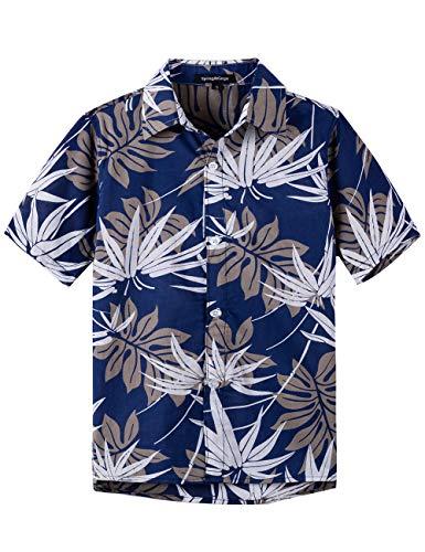 Spring&Gege Camicia hawaiana a maniche corte da ragazzo con stampa a fumetto Aloha Button Down Camicie (4-14 anni Foglia blu navy 9-10 Anni