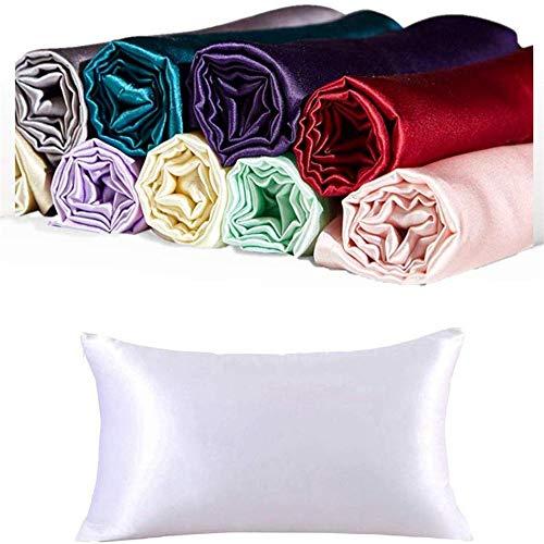 CrazyGo 100% Mulberry Silk Pillowcases, Tamaño estándar,1pc (Blanco, estándar (20