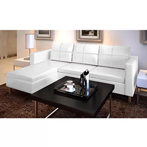 UnfadeMemory Sofá de 3 Plazas con Chaise Longe,Sofá de Salon,Decoración de Hogar,Cojines y Tapicería de Piel Sintética,188x122x77cm (Blanco)