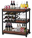 Bar Cart with 12-Bottle Wine Rack, Bar Carts for Home Removable Box Container...