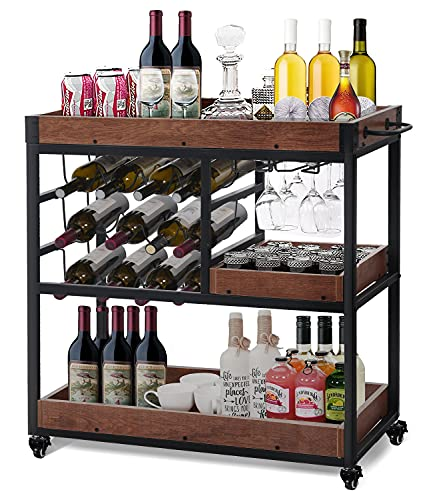 Bar Cart with 12-Bottle Wine Rack, Bar Carts for Home Removable Box Container Handle Rack, Industrial Wine Cart with Liquor Shelves Glass Holder, Wine Bar Home On Wheels