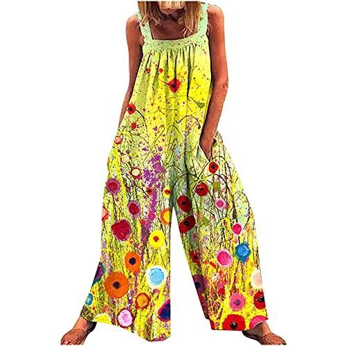 LIULIU Women's Ethnic Style Suspender Jumpsuit Loose Baggy Cotton Wide Leg Drop Crotch Printed Bib Overalls Rompers Yellow