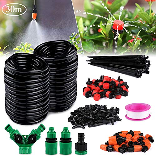 Philonext Drip Irrigation100ft /30M Garden Irrigation System Adjustable Automatic Micro Irrigation Kits1/4quot Blank Distribution Tubing Hose Suit for Garden Greenhouse Flower BedPatioLawn 30M