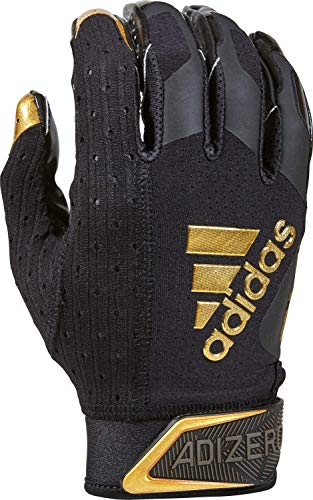 adidas Adizero Football Gloves, Large, Black/Metalic Gold - Receivers Gloves with Added Grip
