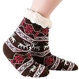 JARSEEN Mujer Hombre Navidad Calcetines Invierno Calentar Pantuflas de Estar Por Casa Super Suaves Cómodos Calcetines Antideslizante (Ciervo Marrón, EU 36-42)